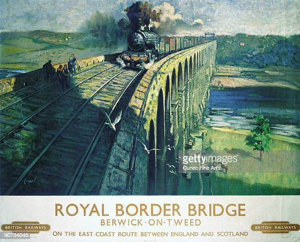 Poster produced for British Railways to promote rail travel between England and Scotland on the East Coast route which passed through BerwickonTweed...