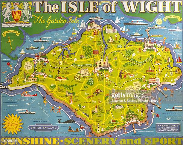 Poster produced for British Railways to promote rail travel to and within the Isle of Wight The poster shows a map of the island �The Garden Isle�...
