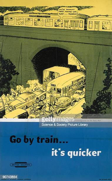 Poster produced for British Railways to promote the advantages of travelling by train The poster shows a train passing over a railway bridge with a...
