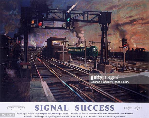 Poster produced for British Railways to promote the company�s modernisation plan The poster shows coloured electric signal lights which worked...