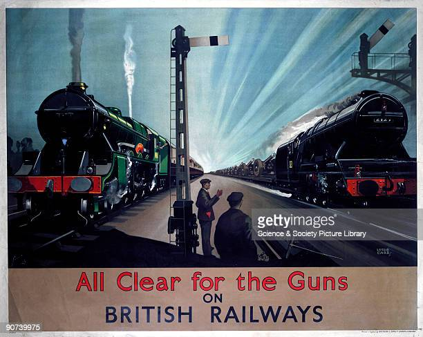 Poster produced for British Railways to publicise the war effort The passenger train on the left gives way to the one on the right which is loaded...