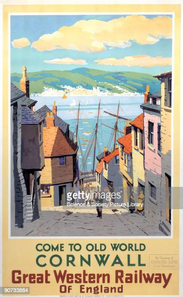 Poster produced for Great Western Railway to promote rail travel to Cornwall The poster shows a Cornish fishing village with a steep street lined...