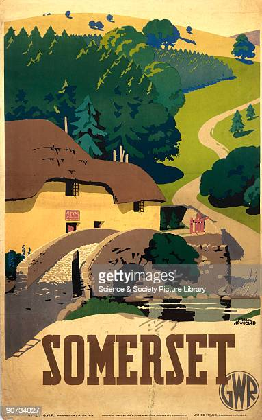 Poster produced for Great Western Railway to promote rail travel to Somerset The poster shows a rural scene with a cottage old stone bridge a stream...