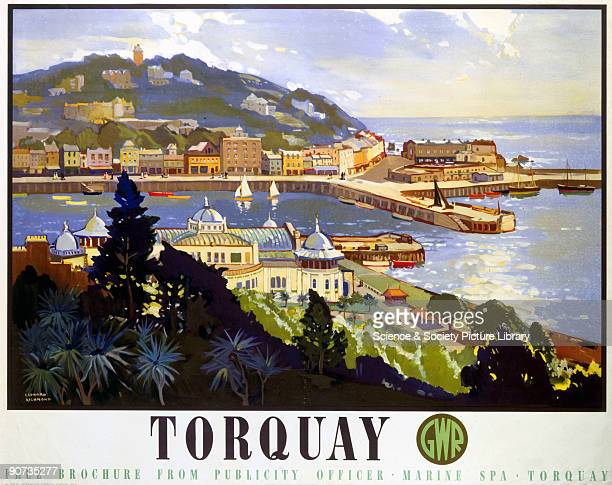 Poster produced for Great Western Railway to promote rail travel to Torquay Devon The poster shows an expansive view of the town�s seaside with its...