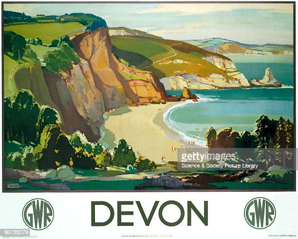 Poster produced for Great Western Railway to promote rail travel to Devon The poster shows a view of the beautiful landscape typical of the area with...