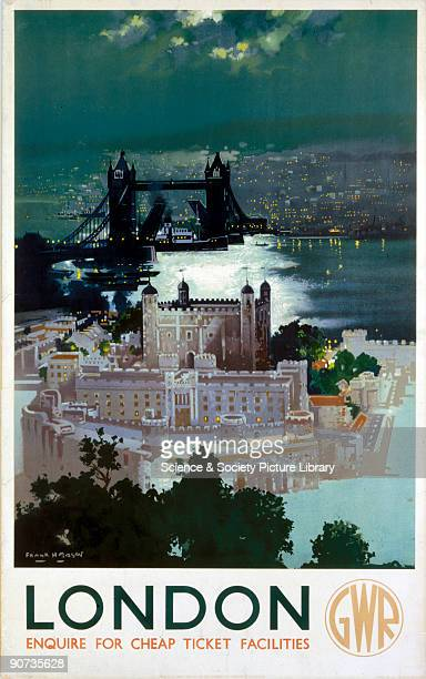 Poster produced for Great Western Railway to promote rail travel to London The poster shows an aerial view of the Tower of London Artwork by Frank...