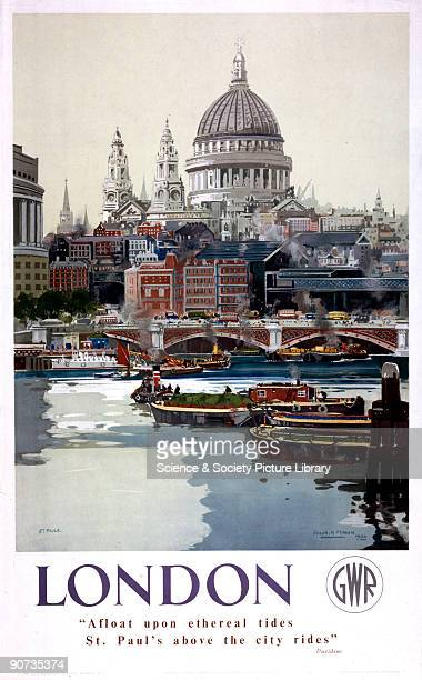 Poster produced for Great Western Railway to promote train services to London Although the style of the artwork would suggest a date in the 1940s the...