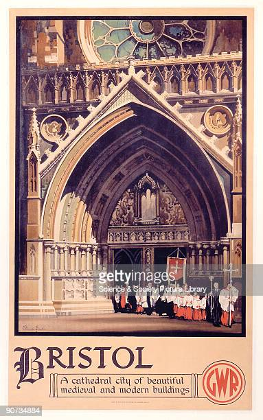 Poster produced for Great Western Railways to promote rail services to Bristol �a cathedral city of beautiful medieval and modern buildings� The...