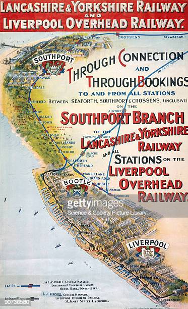 Poster produced for Lancashire Yorkshire Railway and Liverpool Overhead Railway to promote travel on these railways� routes The poster shows a...