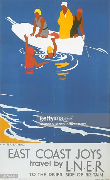 Poster produced for London and North Eastern Railway to promote rail travel to the East Coast This poster which promotes sea bathing is one of a...