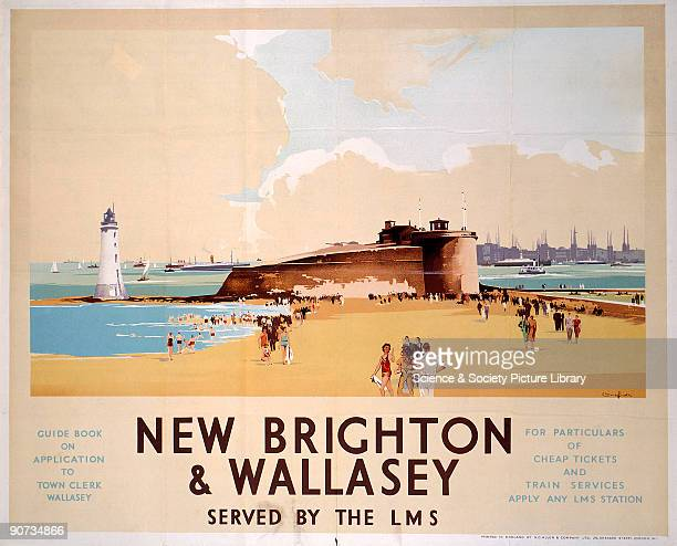 Poster produced for London Midland Scottish Railway to promote rail services to New Brighton and Wallasey The poster shows a view of the beach at New...