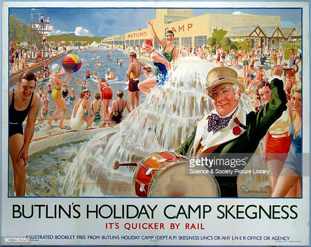 Poster produced for London North Eastern Railway in conjunction with Butlin�s Holiday Camps to promote rail travel to Skegness in Lincolnshire The...