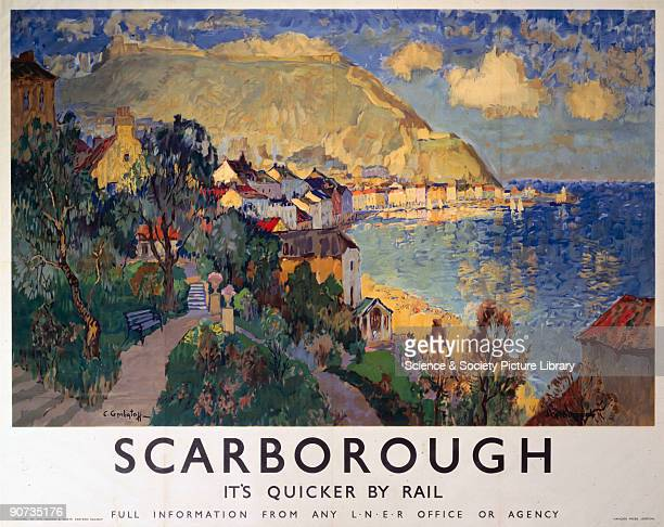 Poster produced for London North Eastern Railway to promote rail travel to Scarborough North Yorkshire The poster shows a landscape view of green...