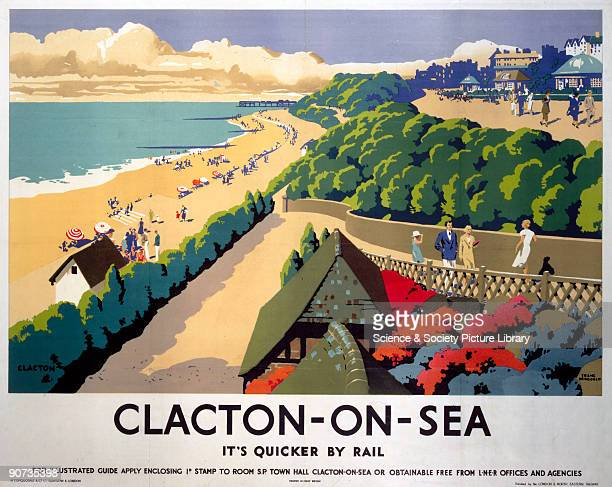 Poster produced for London North Eastern Railway to promote rail travel to ClactononSea Essex The poster shows a view of the seafront with the...