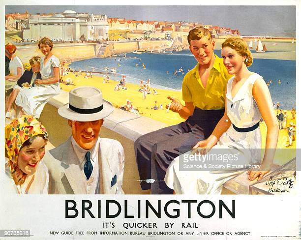 Poster produced for London North Eastern Railway to promote rail travel to the coastal resort of Bridlington in Yorkshire Artwork by Septimus E Scott...