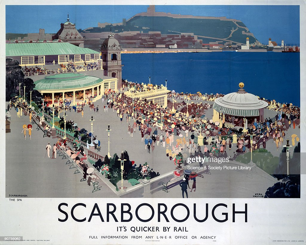 Poster produced for London & North Eastern Railway (LNER) to promote train services to Scarborough, North Yorkshire. Artwork by Fred Taylor (1875-1963), who was commissioned in 1930 to design four ceiling paintings for the Underwriting Room at Lloyd�s and murals for Reed�s Lacquer Room. He exhibited at the Royal Academy and other London galleries and worked for the Empire Marketing Board, LNER, London Transport and several shipping companies.