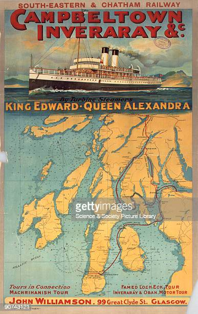 Poster produced for South Eastern Chatham Railway to promote tours of the west coast of Scotland on the turbine steamers King Edward and Queen...