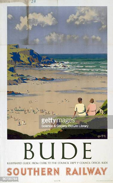 Poster produced for Southern Railway to promote rail travel to Bude in Cornwall Artwork by Herbert Alker Tripp who had a long and successful career...