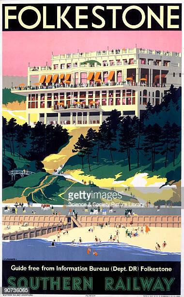 Poster produced for Southern Railway to promote rail travel to Folkestone Kent Artwork by Verney L Danvers who ran a school of commercial art and...