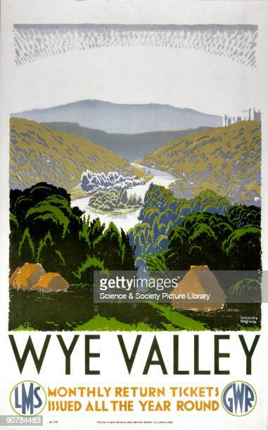 Poster produced for the Great Western Railway and London Midland Scottish Railway promoting rail travel to the Wye Valley Hereford and Worcester...