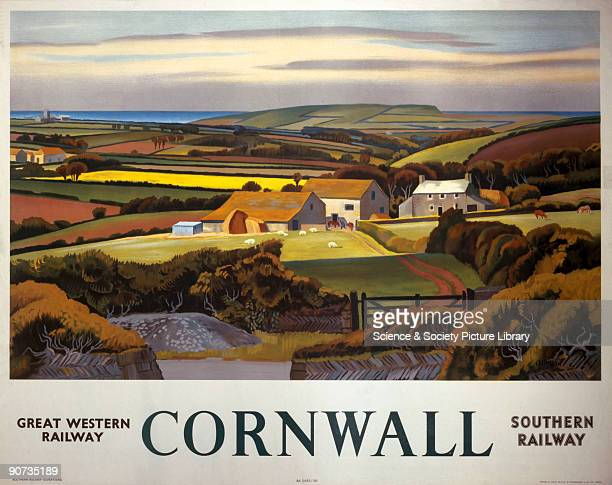Poster produced for the Great Western Railway and the Southern Railway to promote rail travel to Cornwall The poster shows a panoramic landscape with...