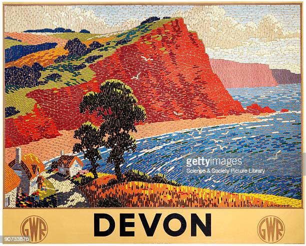 Poster produced for the Great Western Railway promoting rail travel to the county of Devon showing an idealised view of the sea and cliffs with...