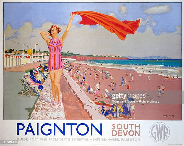 Poster produced for the Great Western Railway promoting rail travel to Paignton South Devon The poster shows a bathing belle waving a towel on the...