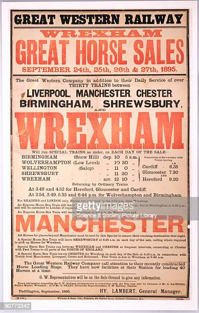 Poster produced for the Great Western Railway promoting rail travel to the Great Horse Sales held at Wrexham North Wales from September the 24th to...