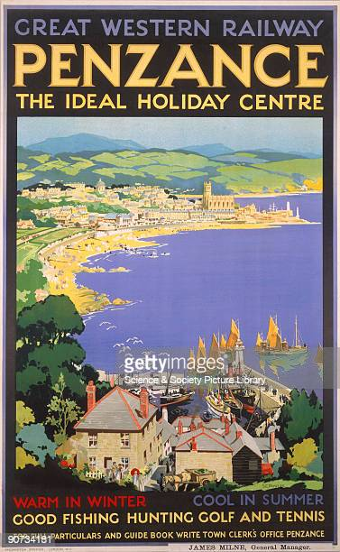 Poster produced for the Great Western Railway to promote rail travel to the Cornish resort and port of Penzance �the ideal holiday centre� The poster...