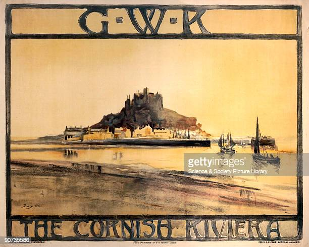 Poster produced for the Great Western Railway to promote St Michael's Mount and the Cornish Riviera in general as a holiday destination Artwork by...