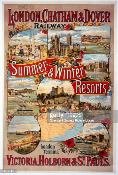 Poster produced for the London Chatham Dover Railway promoting rail travel to the resorts of Kent and France showing illustrations of Paris...