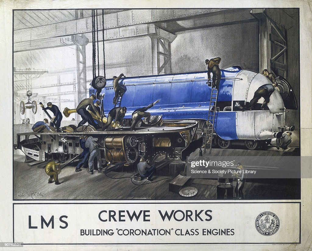 Poster produced for the London Midland Scottish Railway showing workers at the Crewe Works building a �Coronation� class engine in the foreground...
