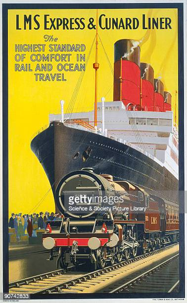 Poster produced for the London Midland Scottish Railway to promote the company�s rail and sea services on the LMS Express locomotive and Cunard steam...
