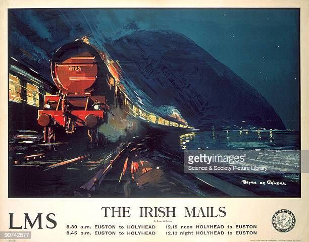 Poster produced for the London Midland Scottish Railway to promote the Euston to Holyhead Irish mail trains The poster shows a steam locomotive...