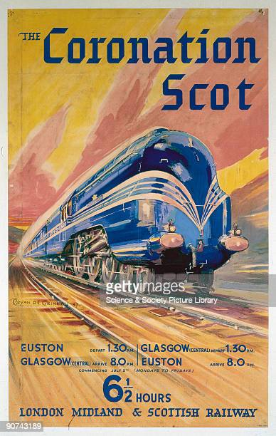 Poster produced for the London Midland Scottish Railway to promote services between Euston Station London and Glasgow Central with a journey time of...
