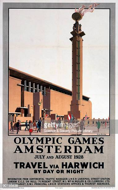 Poster produced for the London North Eastern Railway to promote rail and sea services to the 1928 Olympic Games held in Amsterdam in July and August...