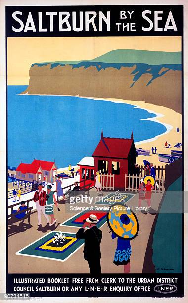 Poster produced for the London North Eastern Railway to promote train services to SaltburnbytheSea in Cleveland The poster shows a view of the beach...