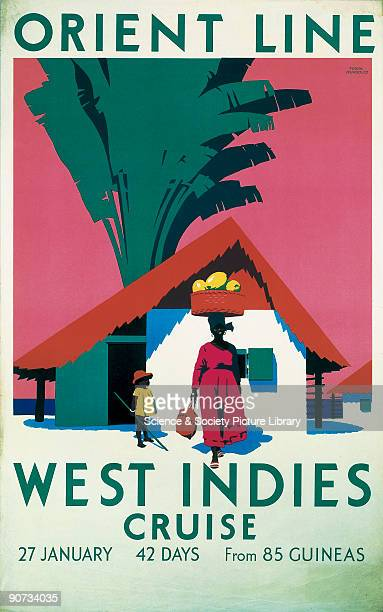 Poster produced for the Orient Line to promote its cruise to the West Indies which lasted for 42 days The poster shows an illustration of a woman in...