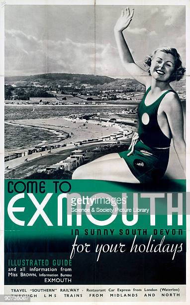 Poster produced for the Southern Railway and London Midland Scottish Railway to promote rail services to Exmouth in Devon Artwork by an unknown artist