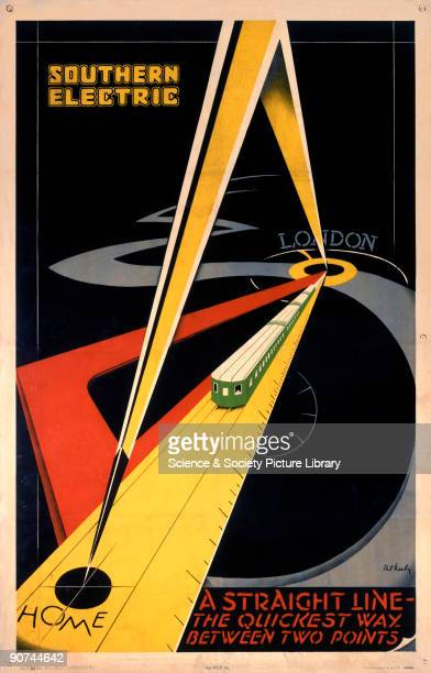 Poster produced for the Southern Railway and Southern Electric showing a highly stylised image of a train�s route measured by an enormous pair of...