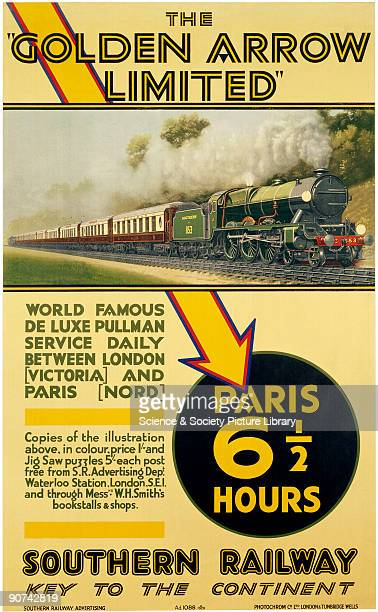 Poster produced for the Southern Railway to promote their deluxe daily pullman service between Victoria Station London and Nord Station Paris The...