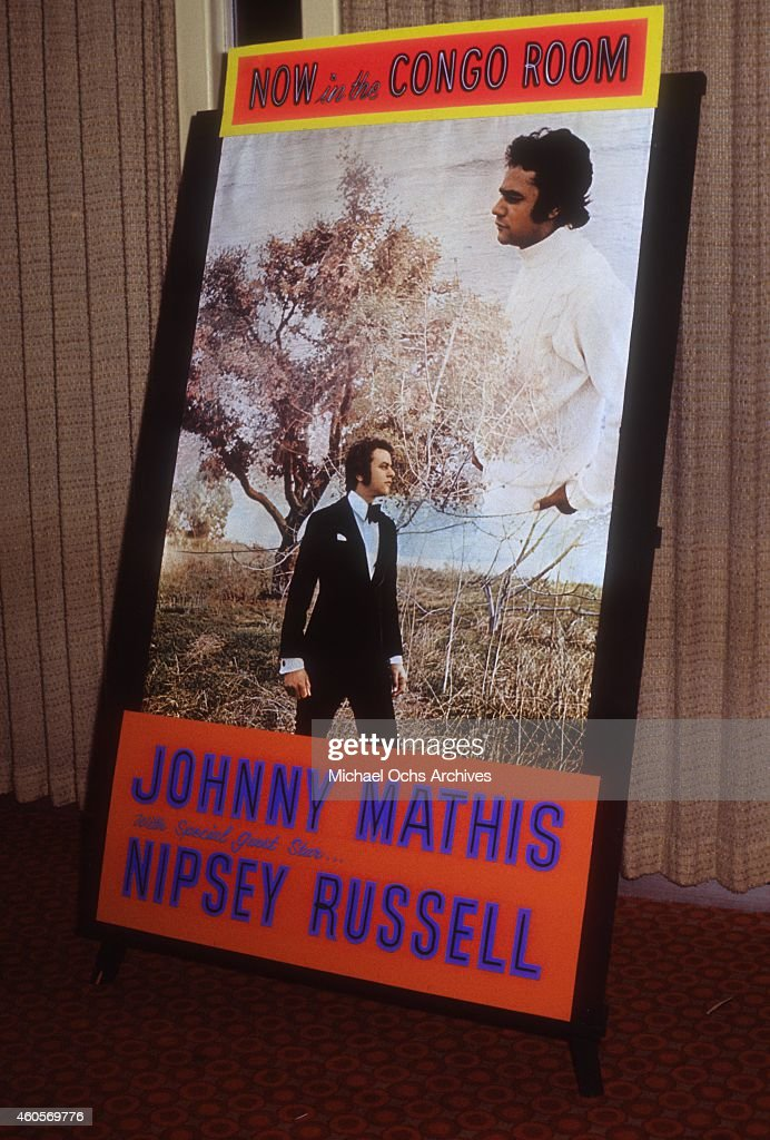 A poster promoting singer Johnny Mathis performing live in the Congo Room at the Sahara Hotel on September 9 1971 in Las Vegas Nevada