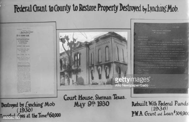 A poster protesting Federal grants used to restore property damaged by lynch mobs Sherman Texas 1945