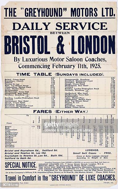 Poster setting out the timetable for daily coach services between Bristol and London provided by Greyhound Motors Ltd When Greyhound Motors started...