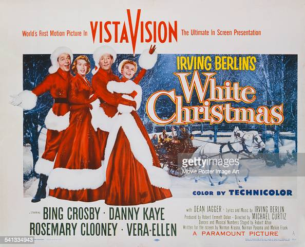 A poster the 1954 musical romantic comedy 'White Christmas' directed by Michael Curtiz and starring Bing Crosby Rosemary Clooney Danny Kaye and...