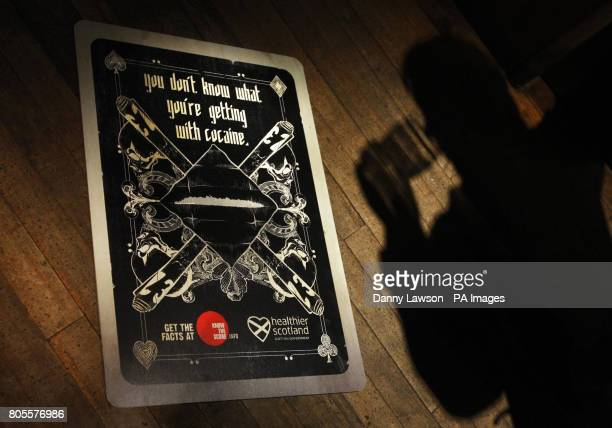 A poster warning festive revellers of the serious health dangers of cocaine use at the Oran Mor pub in Glasgow