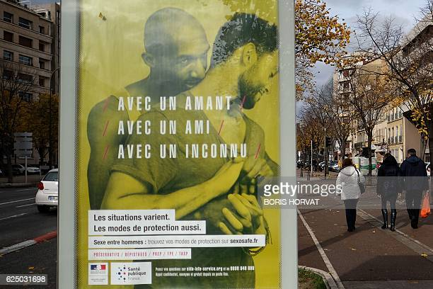 A poster which is part of a campaign launched by the French Health and Social Affairs ministry to prevent Aids and sexually transmitted diseases...