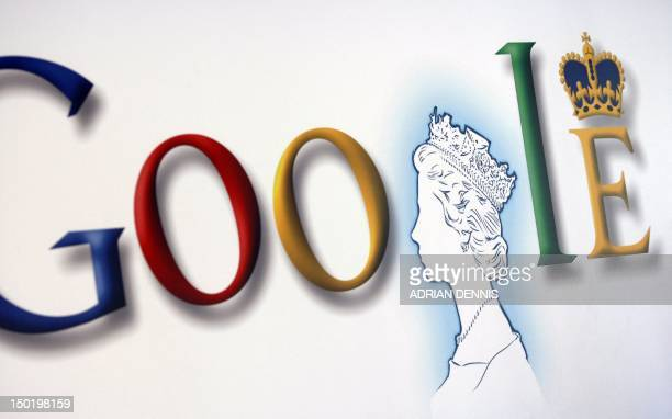 A poster with an image of Britain's Queen Elizabeth II incorporated into the Google's logo is pictured at the company UK headquarters in London on...