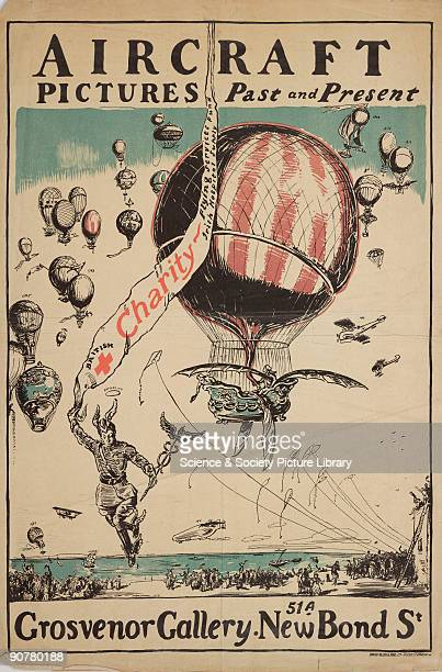 A poster with artwork by Richardson advertising an exhibition at the Grosvenor Gallery New Bond Street London The picture shows Blanchard�s balloon...