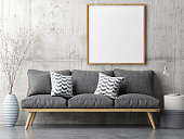 Poster with retro sofa, minimalism interior concept, 3d illustration